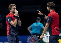 Tennis - 2019 Nitto ATP Finals at The O2 - Day Eight<br /> <br /> Doubles Final : Pierre-Hugues Herbert (FRA) & Nicolas Mahut (FRA) Vs. Raven Klaasen (RSA) & Michael Venus (NZL)<br /> <br /> Nicolas Mahut (FRA) cannot believe he served the match winning point as his team wins the match  <br /> <br /> COLORSPORT/DANIEL BEARHAM