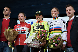Top three: Chloe Hosking, Lotte Kopecky and Amalie Dideriksen at Drentse 8 2017. A 143 km road race on March 12th 2017, starting and finishing in Dwingeloo, Netherlands. (Photo by Sean Robinson/Velofocus)