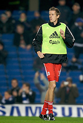 LONDON, ENGLAND - Wednesday, December 19, 2007: Liverpool's Peter Crouch warms-up before the League Cup Quarter Final match against Chelsea at Stamford Bridge. (Photo by David Rawcliffe/Propaganda)
