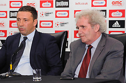 Bristol City Manager Derek McInnes (SCO) and Chairman Keith Dawe face fans questions during the clubs Annual Supporters Meeting held in the AMC Communications Lounge - Photo mandatory by-line: Rogan Thomson/JMP - Tel: Mobile: 07966 386802 06/12/2012 - SPORT - FOOTBALL - Ashton Gate - Bristol - Club AGM.