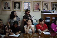EGYPT, Cairo :  Journalists from Al-Watan newspaper listen to the Egyptian presidential candidate Abul Ezz Hariri (not seen) during a meeting  in Cairo on May 14,2012. ph. Christian Minelli