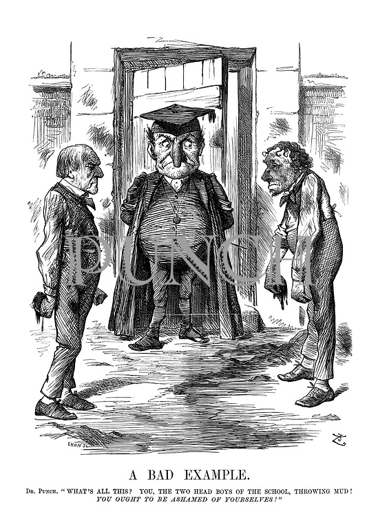 "A Bad Example. Dr Punch. ""What's all this? You, the two head boys of the school, throwing mud! You ought to be ashamed of yourselves!"""