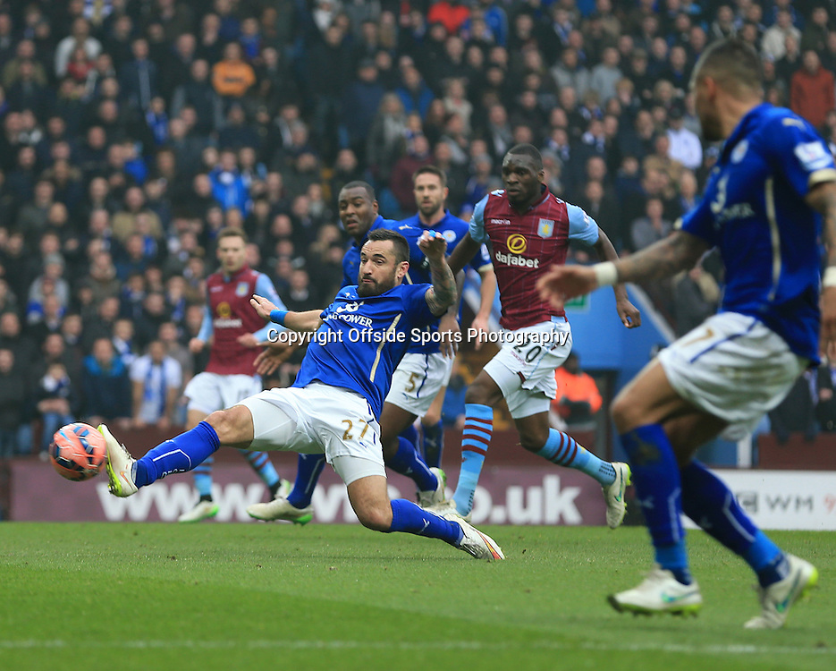 15th February 2015 - FA Cup 5th Round - Aston Villa v Leicester City - Marcin Wasilewski of Leicester City stretches to stop a Villa cross - Photo: Paul Roberts / Offside.