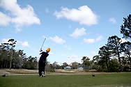 WILMINGTON, NC - MARCH 19: Kent State's Josh Whalen (CAN) tees off on the Ocean Course sixth hole. The first round of the 2017 Seahawk Intercollegiate Men's Golf Tournament was held on March 19, 2017, at the Country Club of Landover Nicklaus Course in Wilmington, NC.