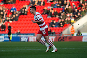 Doncaster Rovers Midfielder Tommy Rowe (10) celebrates as he scores a goal 1-0 during the The FA Cup match between Doncaster Rovers and Scunthorpe United at the Keepmoat Stadium, Doncaster, England on 3 December 2017. Photo by Craig Zadoroznyj.