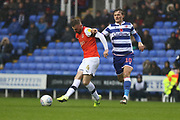 Ryan Tuncliffe  of Luton Town and John Swift (10) of Reading during the EFL Sky Bet Championship match between Reading and Luton Town at the Madejski Stadium, Reading, England on 9 November 2019.