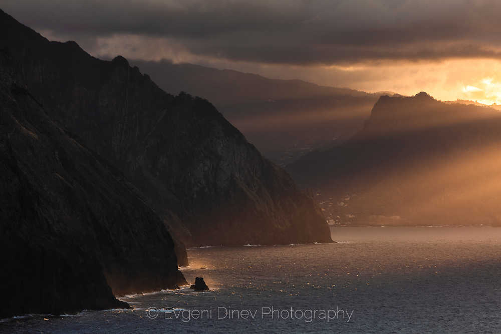 Northern west coast of madeira at sunset