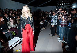 © Licensed to London News Pictures. 21/02/2012. London, UK.  Singer Diana Vickers  poses for photographers before Aminaka Wilmont Autumn/Winter 2012 collection on day 5 of London Fashion Week 2012, on February 21st, 2012 . Photo credit : Ben Cawthra/LNP