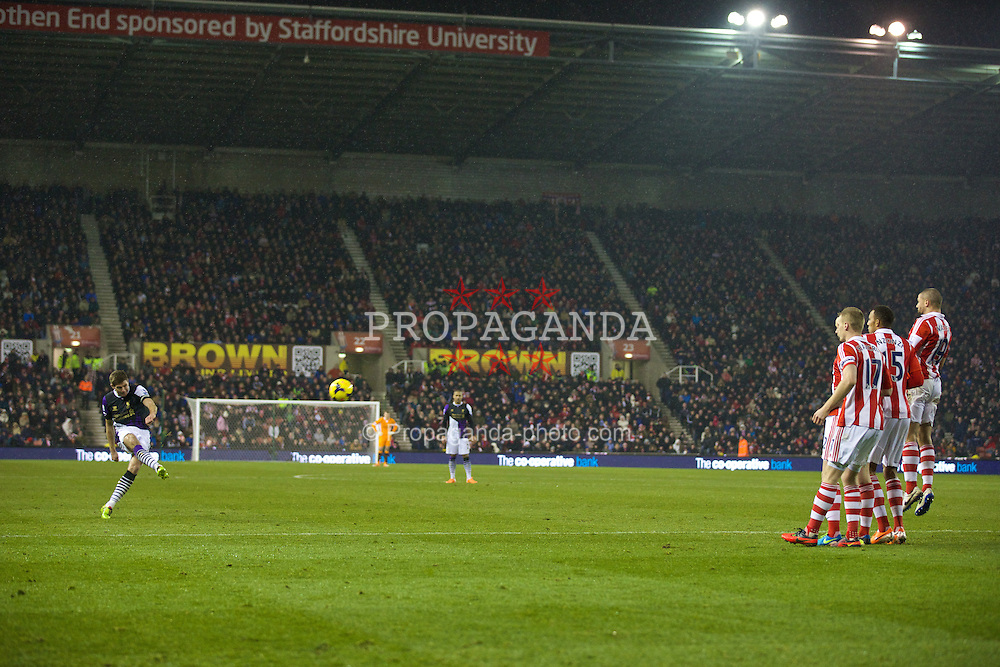 STOKE-ON-TRENT, ENGLAND - Sunday, January 12, 2014: Liverpool's captain Steven Gerrard in action against Stoke City during the Premiership match at the Britannia Stadium. (Pic by David Rawcliffe/Propaganda)