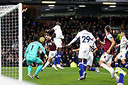 Burnley forward Ashley Barnes (10) misses from close range during the Premier League match between Burnley and Chelsea at Turf Moor, Burnley, England on 26 October 2019.