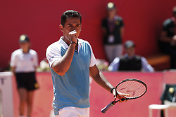 May 2, 2017 - Estoril, Portugal - Spanish tennis player Nicolas Almagro celebrates after winning his match against French player Benoit Paire during their Millennium Estoril Open ATP Singles 1st round  tennis match, in Estoril, near Lisbon,  on May 2, 2017. Spanish tennis player Nicolas Almagro won 63 and 62. (Credit Image: © Carlos Palma/NurPhoto via ZUMA Press)