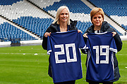 First Minister Nicola Sturgeon (Patron on the Scotland Womens National Team) with Scotland Head Coach Shelley Kerr looking forward to the FIFA Women's World Cup during the press conference for the Scotland Women's team World Cup Funding Announcement held at Hampden Park, Glasgow, United Kingdom on 26 September 2018.