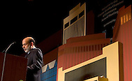 2/6/07 Omaha NE Federal Reserve Chairman Ben Bernanke speaks in front a scenery made to look like Omaha at the Greater Omaha Chamber of Commerce's annual meeting at the Qwest Center Omaha Tuesday afternoon. (photo by Chris Machian/ Prairie Pixel Group