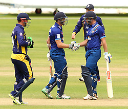 Gloucestershire's Michael Klinger is congratulated by Gloucestershire's Geraint Jones after reaching fifty - Mandatory by-line: Robbie Stephenson/JMP - 07966386802 - 04/08/2015 - SPORT - CRICKET - Bristol,England - County Ground - Gloucestershire v Durham - Royal London One-Day Cup