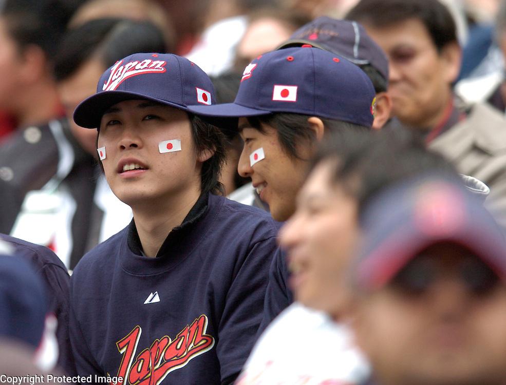 Team Japan fans await the start of Round 2 action matching Team Japan and Team USA at Angel Stadium of Anaheim.