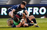 Sale Sharks scrum-half Faf De Klerk tackles Harlequins scrum-half Danny Care and hold the ball up prevent a try  during a Gallagher Premiership match at the AJ Bell Stadium, Eccles, Greater Manchester, United Kingdom, Friday, April 5, 2019. (Steve Flynn/Image of Sport)