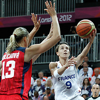 07 August 2012: France Celine Dumerc goes for the layup during 71-68 Team France victory over Team Czech Republic, during the women's basketball quarter-finals, at the Basketball Arena, in London, Great Britain.