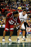 25 November 2005: USC junior forward, Renaldo Balkman (34), and Monmouth's junior center, Corey Hallett (13) in the South Carolina 62-56 victory over Monmouth University at the Great Alaska Shootout in Anchorage, Alaska