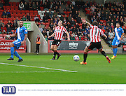 Jack Munns scores his goal during the Vanarama National League match between Cheltenham Town and Eastleigh at Whaddon Road, Cheltenham, England on 17 October 2015. Photo by Antony Thompson.