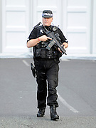 © Licensed to London News Pictures. 04/10/2011. MANCHESTER. UK. An armed police man at The Conservative Party Conference at Manchester Central today, October 4, 2011. Photo credit:  Stephen Simpson/LNP
