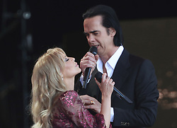 Kylie Minogue with guest Nick Cave performing on the Pyramid Stage on the fifth day of the Glastonbury Festival at Worthy Farm in Somerset.