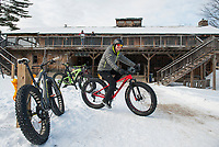 "Jeff Syms gears up to catch up with his daughter Marcella Tonge during Saturday's 50th ""then and now"" anniversary at Highlands Mountain Bike Park.  (Karen Bobotas/for the Laconia Daily Sun)"