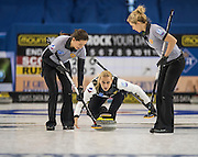"Glasgow. SCOTLAND. Russian ""Skip"", Victoria MOISEEVA,   during  the ""Round Robin"" Game.  Scotland vs Russia,  Le Gruyère European Curling Championships. 2016 Venue, Braehead  Scotland<br /> Thursday  24/11/2016<br /> <br /> [Mandatory Credit; Peter Spurrier/Intersport-images]"