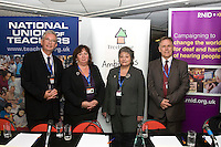 John Bangs, NUT; Christina McAnea, Unison; Linda Redford, Treehouse; Brian Lamb, RNID; Education fringe at the TUC Conference 2008...© Martin Jenkinson, tel 0114 258 6808 mobile 07831 189363 email martin@pressphotos.co.uk. Copyright Designs & Patents Act 1988, moral rights asserted credit required. No part of this photo to be stored, reproduced, manipulated or transmitted to third parties by any means without prior written permission