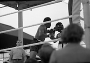 Ali vs Lewis Fight, Croke Park,Dublin..1972..19.07.1972..07.19.1972..19th July 1972..As part of his built up for a World Championship attempt against the current champion, 'Smokin' Joe Frazier,Muhammad Ali fought Al 'Blue' Lewis at Croke Park,Dublin,Ireland. Muhammad Ali won the fight with a TKO when the fight was stopped in the eleventh round...A straight left to the face rocks Ali and forces him back from Lewis.