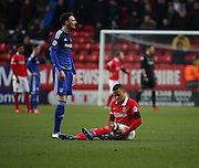 Charlton Athletic midfielder, Jordan Cousins (8) injuring his hamstring during the Sky Bet Championship match between Charlton Athletic and Cardiff City at The Valley, London, England on 13 February 2016. Photo by Matthew Redman.