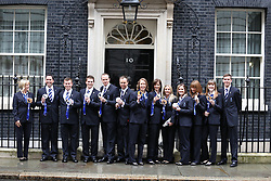 Members of the GB Olympic Team pose for photos outside 10 Downing Street, London, United Kingdom. Tuesday, 25th February 2014. Picture by Daniel Leal-Olivas / i-Images