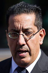 © Licensed to London News Pictures . 02/05/2013 . Preston , UK . Chief Crown Prosecutor for the North West of England NAZIR AFZAL makes a statement prior to Stuart Hall leaving Preston Crown Court this morning (Thursday 2nd May) after a pre trial hearing . Hall has admitted to a series of historic sexual assaults . Photo credit : Joel Goodman/LNP