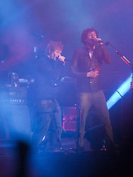 Ed Sheeran joins Gary Lightbody of Snow Patrol as the band headline the the main stage on Friday, at T in the Park 2012, held at Balado, in Fife, Scotland..