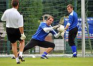 06-08-2008 Voetbal:Maikel Aerts:Bad-Schandau:Duitsland<br /> Willem II is in Oost Duitsland in Bad-Schandau voor een trainingskamp.<br /> Doelman Oscar Moens pakt de bal tijdens de training<br /> <br /> foto: Geert van Erven