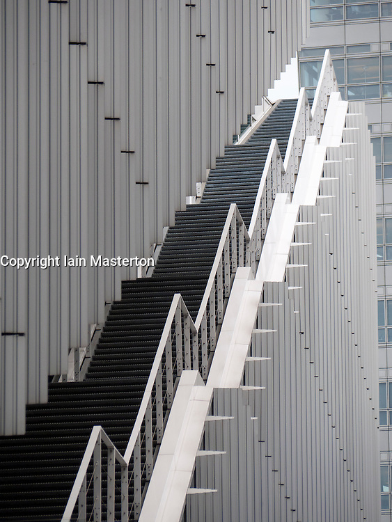 Detail of staircase on office building at modern business district at Amsterdam Zuid in The Netherlands
