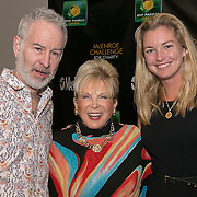 March 6, 2015, Indian Wells, California:<br /> John McEnroe and Coco Vandeweghe pose with a guest during the McEnroe Challenge for Charity VIP Draw Ceremony in Stadium 2 at the Indian Wells Tennis Garden in Indian Wells, California Friday, March 6, 2015.<br /> (Photo by Billie Weiss/BNP Paribas Open)