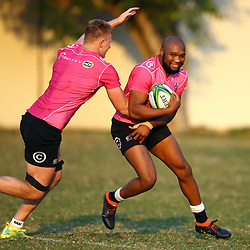Daniel Du Preez of the Cell C Sharks looks to tackle Lukhanyo Am of the Cell C Sharks during the Cell C Sharks training, Jonsson Kings Park Stadium,Durban South Africa.27,06,2018 Photo by (Steve Haag REX Shutterstock )