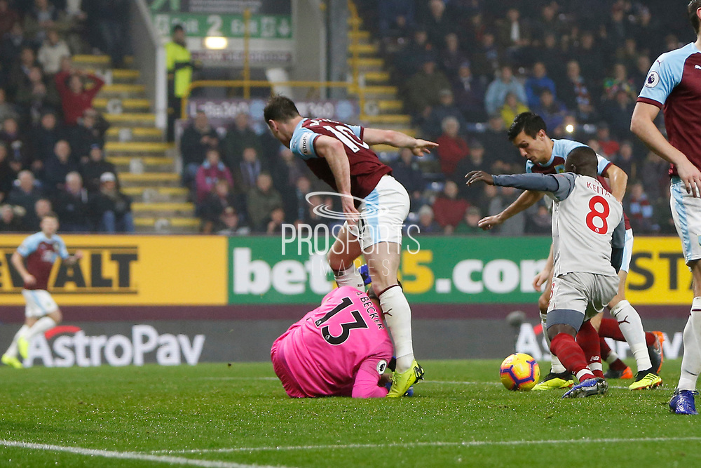 Goal scored by Burnley's Jack Cork  during the Premier League match between Burnley and Liverpool at Turf Moor, Burnley, England on 5 December 2018.