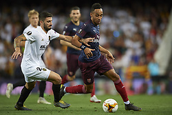 May 9, 2019 - Valencia, Spain - Lacazette of Asenal and Cristiano Piccini of Valencia battle for the ball during the UEFA Europa League Semi Final Second Leg match between Valencia and Arsenal at Estadio Mestalla on May 9, 2019 in Valencia, Spain. (Credit Image: © Jose Breton/NurPhoto via ZUMA Press)