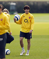 Photo: Chris Ratcliffe.<br /> Arsenal Training Session. UEFA Champions League. 18/04/2006.<br /> Cesc Fabregas is all smiles during training