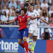 Lori Chalupny, U.S. Women's National Team and So-Yun Ji, Korean Republic, challenge for the ball during the U.S. Women's National Team Vs Korean Republic, International Soccer Friendly in preparation for the FIFA Women's World Cup Canada 2015. Red Bull Arena, Harrison, New Jersey. USA. 30th May 2015. Photo Tim Clayton