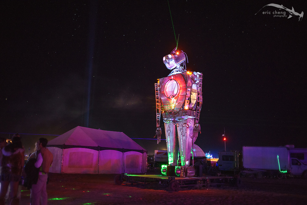Robot thingy. Fire comes from its hands. Burning Man 2014.