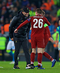 LIVERPOOL, ENGLAND - Tuesday, December 11, 2018: Liverpool's manager Jürgen Klopp celebrates with Andy Robertson after beating SSC Napoli 1-0 and progressing to the knock-out phase during the UEFA Champions League Group C match between Liverpool FC and SSC Napoli at Anfield. (Pic by David Rawcliffe/Propaganda)