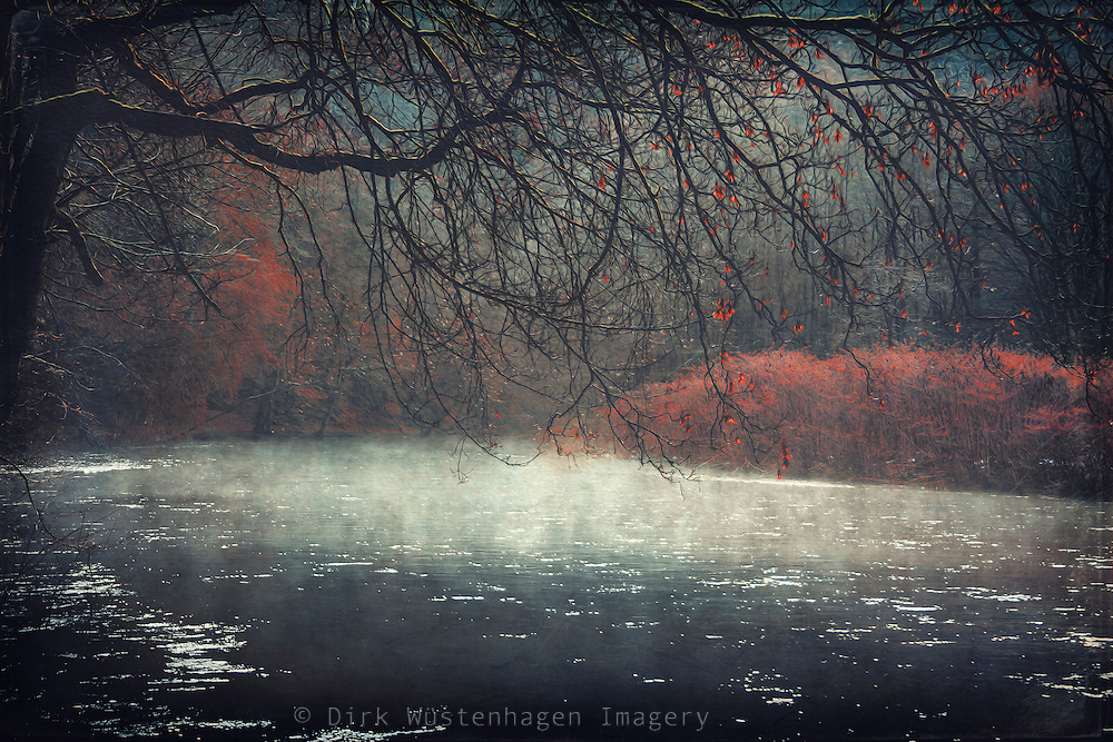 Painterly river scenery with morning fog and overhanging trees - digitally manipulated and treated photograph<br />