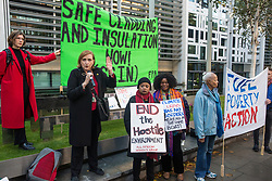 London, UK. 17 October, 2019. Emma Dent Coad, Labour MP for the Grenfell-constituency of Kensington, joins campaigners from Fuel Poverty Action (FPA), residents in uninsulated homes and climate activists to deliver a letter signed by FPA, 80 organisations, trade unions and MPs in just ten days to the Ministry of Housing, Communities and Local Government (MHCLG) precisely one year after a strongly worded letter about the urgency of recladding flammable buildings and insulating those that are cold was delivered to the government department. Commitments made by MHCLG in response to the original letter have not been met. Credit: Mark Kerrison/Alamy Live News