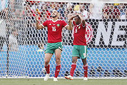 (l-r) Nordin Amrabat of Morocco, Ayoub El Kaabi of Morocco during the 2018 FIFA World Cup Russia group B match between Portugal and Morocco at the Luzhniki Stadium on June 20, 2018 in Moscow, Russia