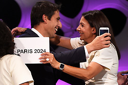 Handout photo - Paris 2024 Bid Co-Chair and 3-time Olympic Champion Tony Estanguet and Paris Mayor Anne Hidalgo celebrate the victory for Paris 2024 during the Olympic and Paralympic Games 2024 host city election, Lima, Peru, September 13, 2017. Photo by Paris 2024/ABACAPRESS.COM
