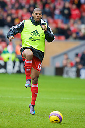 LIVERPOOL, ENGLAND - Saturday, February 23, 2008: Liverpool's Ryan Babel warms up before the Premiership match against Middlesbrough at Anfield. (Photo by David Rawcliffe/Propaganda)