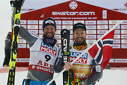 February 9, 2019 - Are, Sweden - AKSEL LUND SVINDAL of Norway (left, 2nd place ) and KJETIL JANSRUD of Norway (right, winner) after the Men's Downhill ski race at the FIS Alpine World Ski Championships in Are Sweden. (Credit Image: © Christopher Levy/ZUMA Wire)