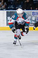KELOWNA, CANADA - JANUARY 2:  Zach Franko #9 of the Kelowna Rockets skates on the ice against the Victoria Royals at the Kelowna Rockets on January 2, 2013 at Prospera Place in Kelowna, British Columbia, Canada (Photo by Marissa Baecker/Shoot the Breeze) *** Local Caption ***